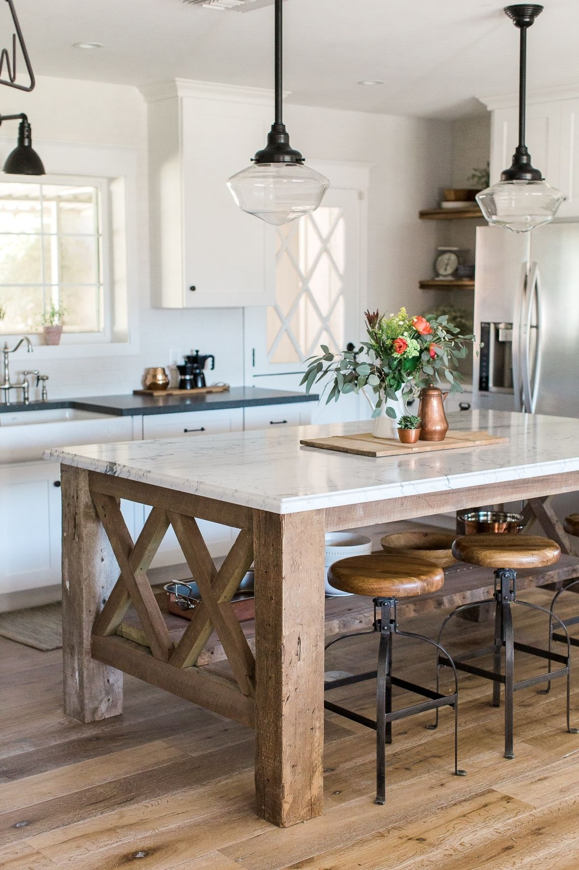custom kitchen island built from barnwood with marble countertop for Custom Kitchen Islands