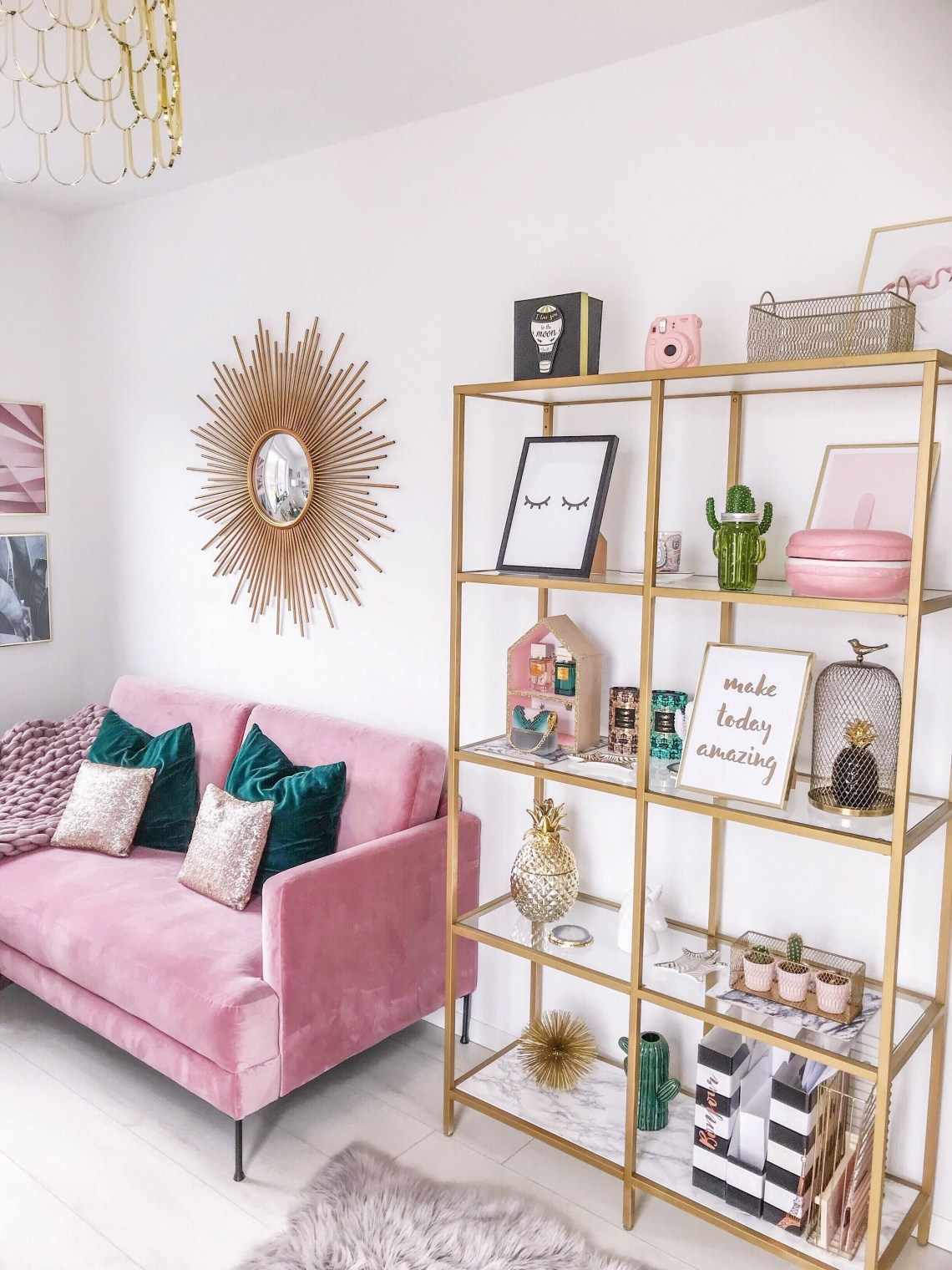 minimalistic home decor with pink and turquoise colors, pink couch within Pink Home Decor