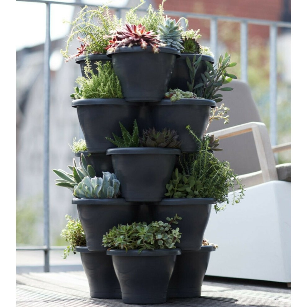 stackable vertical garden flower pot inside Garden Vases Shaped Dolls