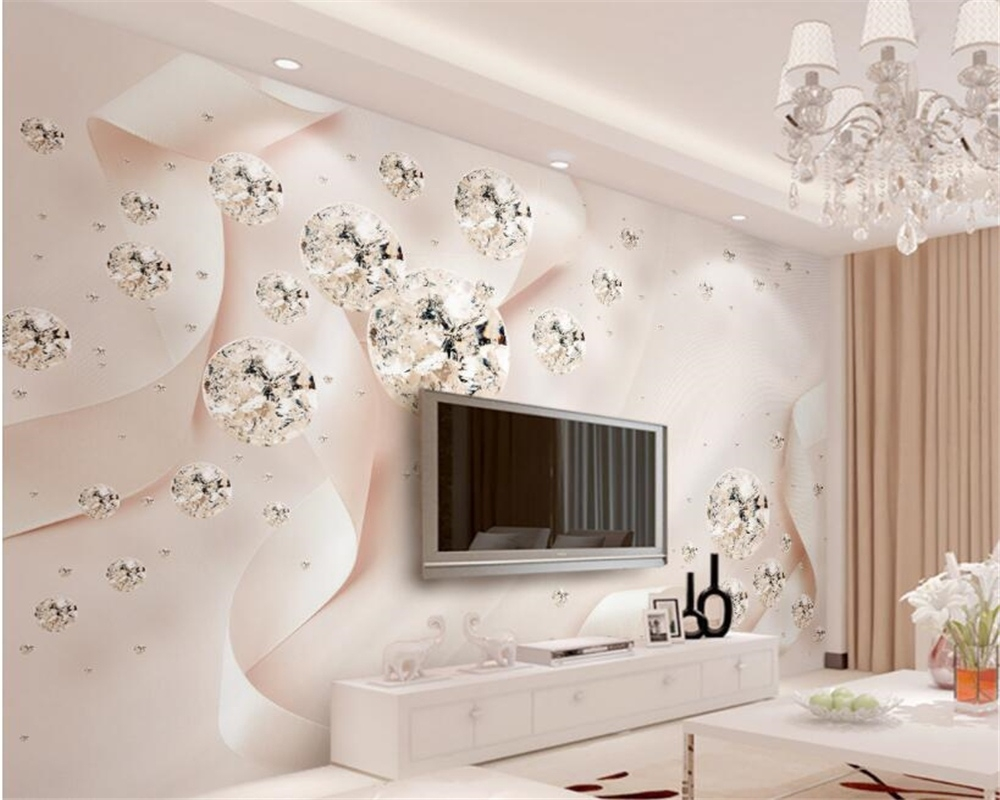 wall paper home decor pink ribbon crystal ball jewelry tv background wall custom 3d photo wall mural wallpaper beibehang-in wallpapers inside Pink Home Decor