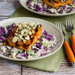BUFFALO GLAZED SALMON WITH BLUE CHEESE COLESLAW