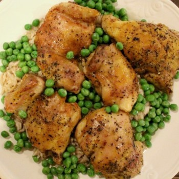 BAKED CHICKEN WITH NOODLES AND PEAS