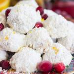 CRANBERRY ORANGE SNOWBALL COOKIES