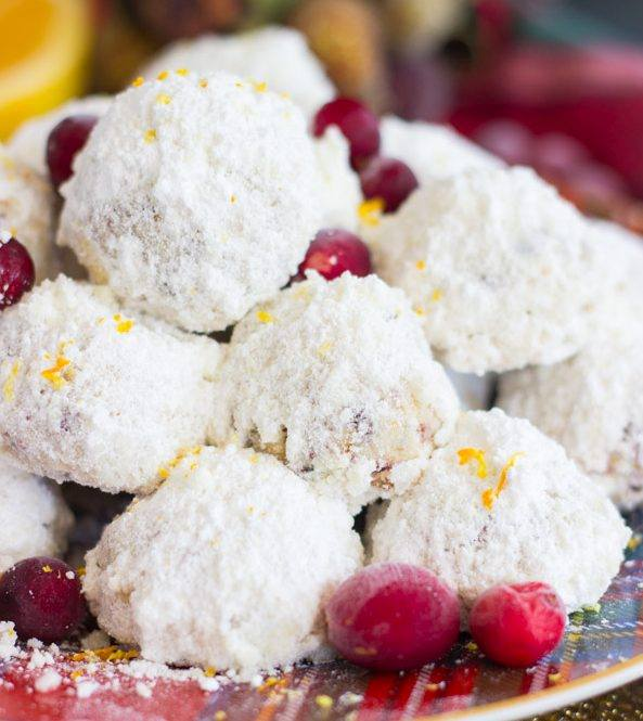 Cranberry Orange Snowball Cookies Maria S Mixing Bowl