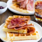 MAPLE SYRUP WAFFLES WITH GLAZED BACON