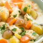 SLOW COOKER GARLIC PARMESAN CHICKEN STEW