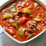SLOW COOKER STUFFED PEPPER SOUP