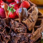 Dark Chocolate Waffles with Ganache & Strawberries