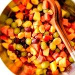 Strawberry Melon Fruit Salad with Creamy Citrus Glaze