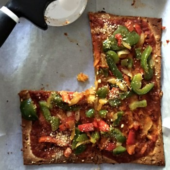 Flatbread Pizza with Roasted Veggies and Cheese