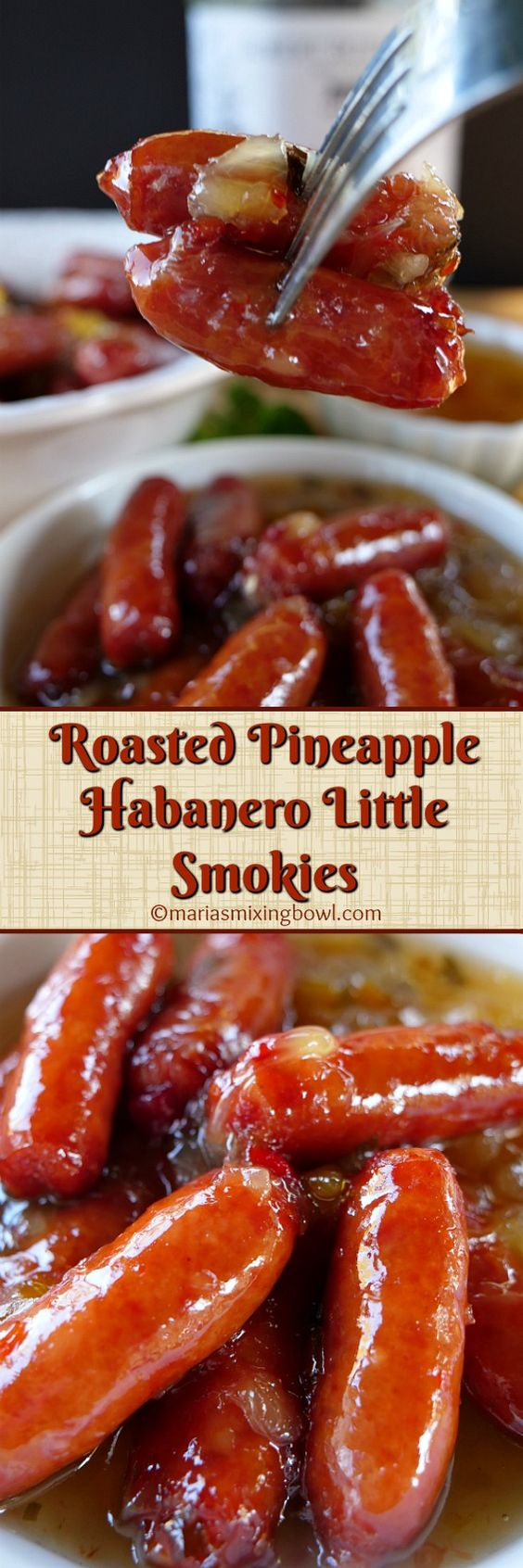 Roasted Pineapple Habanero Little Smokies are the bomb! Make these treats for your next party or game day get together! They are always a huge hit and almost always the first to go. The best part is they are so easy to make!