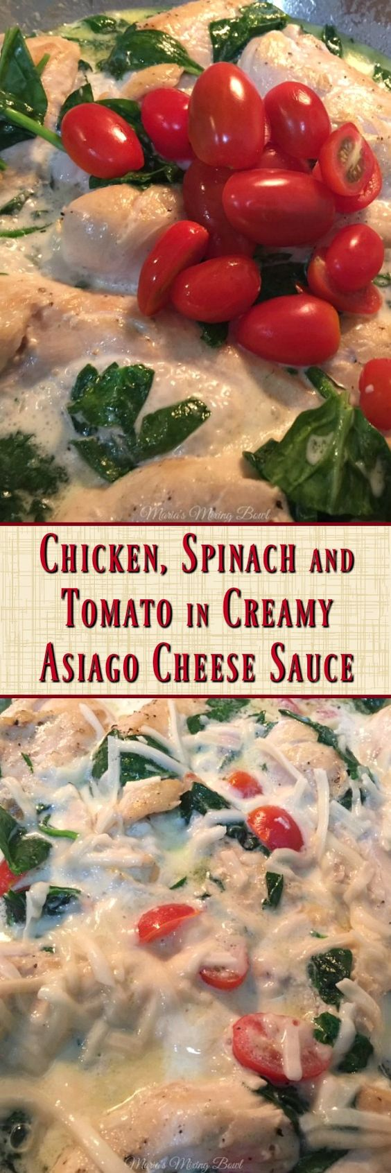 Chicken, Spinach and Tomato in Creamy Asiago Cheese Sauce - A quick and so delicious chicken dish in a creamy asiago cream sauce. Keto, low carb friendly!  This is a favorite weeknight dish!