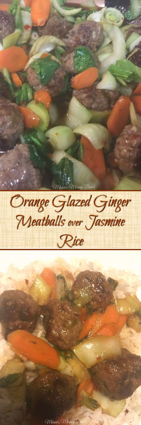 Orange Glazed Ginger Meatballs over Jasmine Rice -  Delicious weeknight dinner that came together in less than 20 minutes!  We have all agreed that this is one of our favorite meals