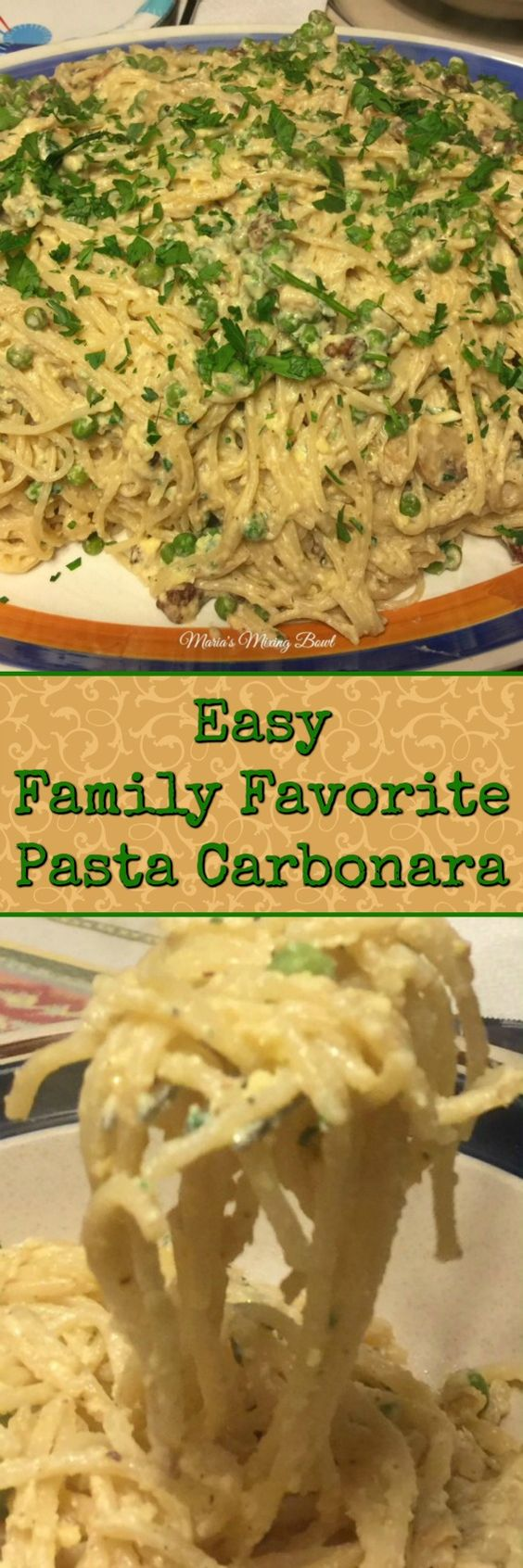 Easy Family Favorite Pasta Carbonara -  is a simple, easy weeknight meal, yet it's classy and elegant enough for a company. Made with pancetta,  peas and lots of Parmesan cheese!