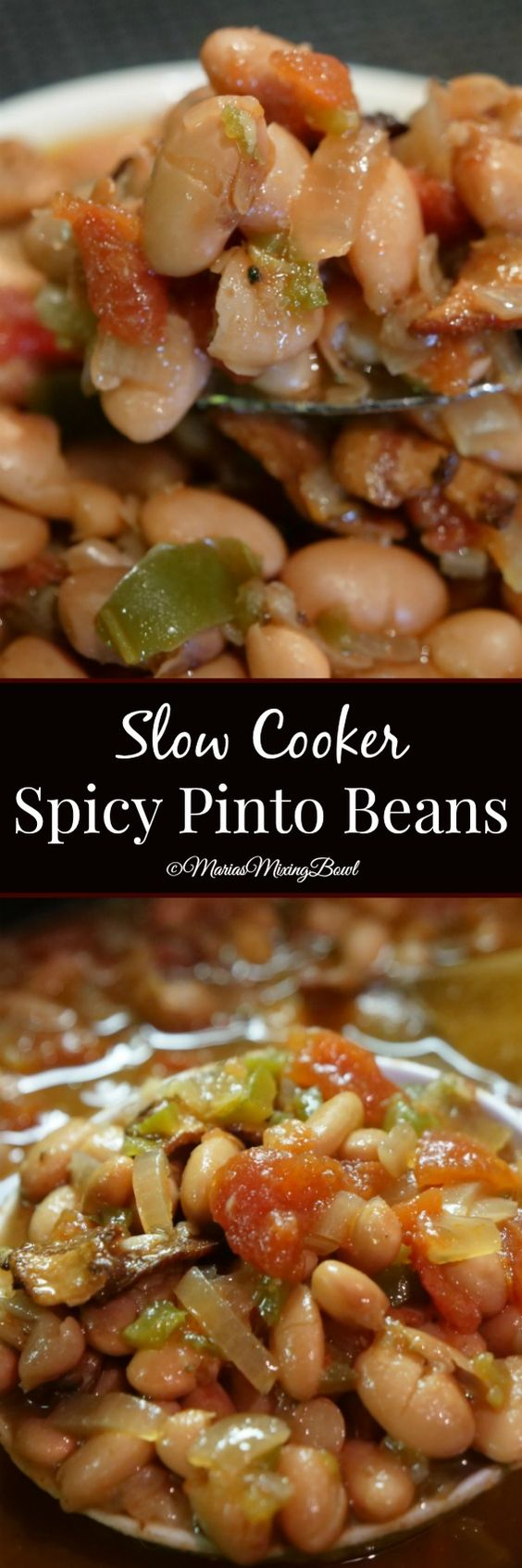 Slow Cooker Spicy Pinto Beans - Spicy pinto beans made in the slow cooker are the perfect side dish for barbecues, potlucks and picnics. Delicious served with a piece of cornbread!