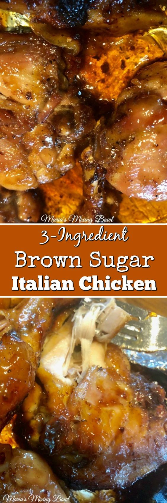 3-Ingredient Brown Sugar Italian Chicken - Italian dressing mix, brown sugar and chicken. Ready in under 30 minutes! A favorite weeknight meal.