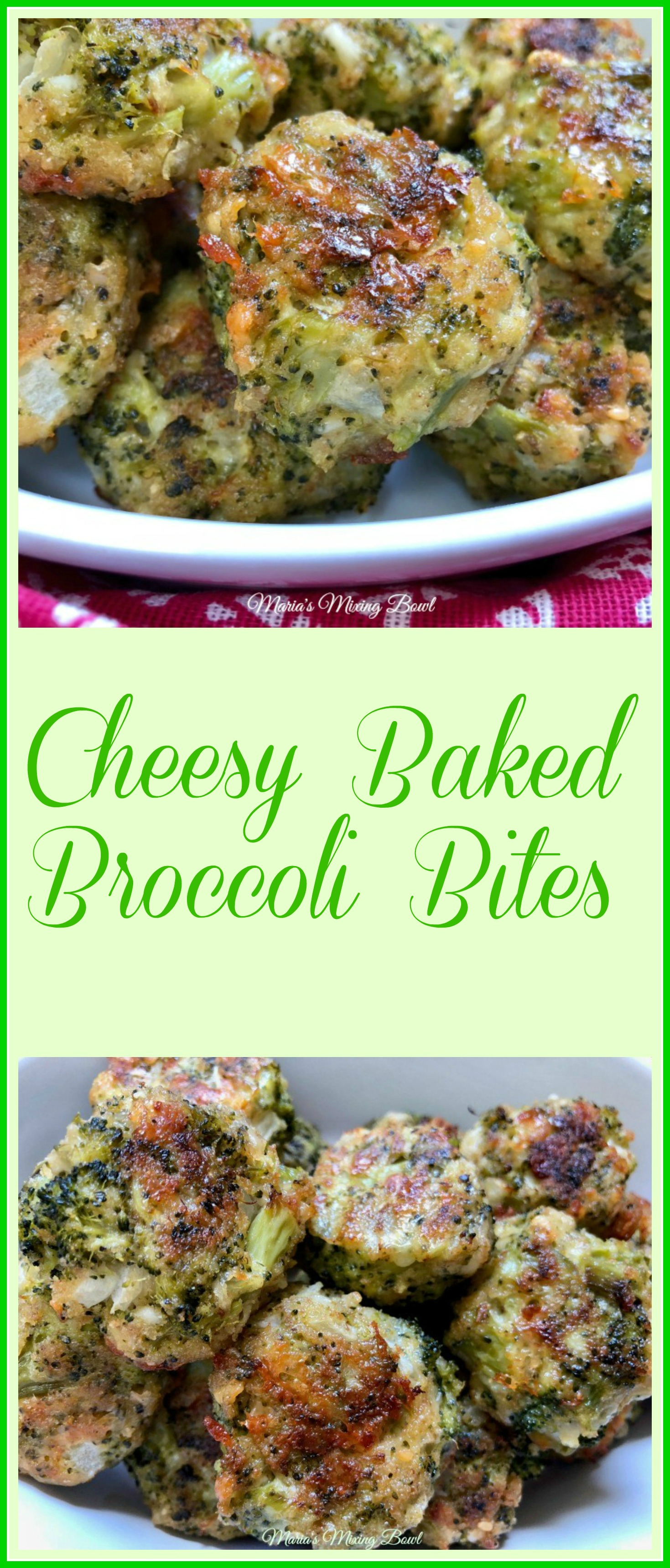 Cheesy Baked Broccoli Bites - So simple to make. Everyone will love these cheesy baked broccoli bites! Great appetizer and snack.