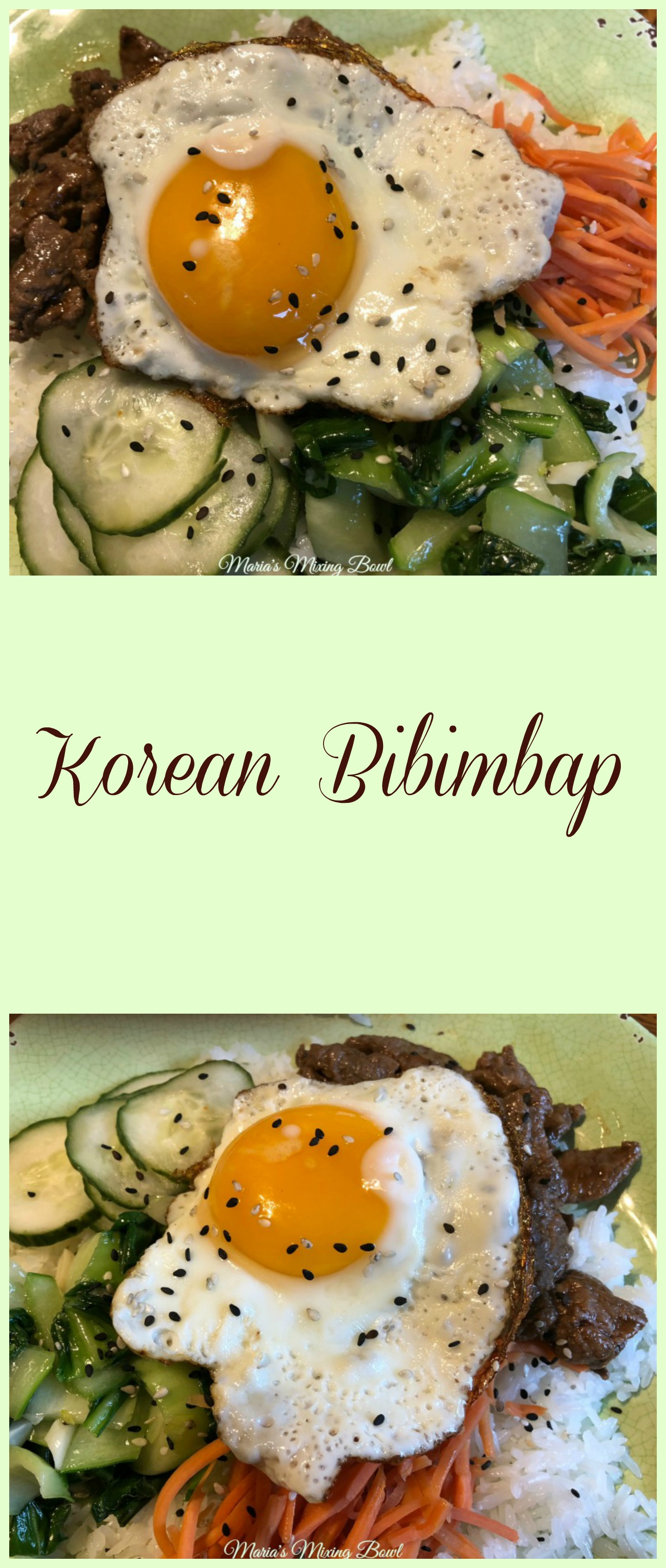 Korean Bibimbap -If you've never heard of Bibimbap, it's a Korean dish that combines rice, seasoned vegetables, meat, egg, and a variety of other toppings. This is such an easy dish to make and perfect for a weeknight meal .