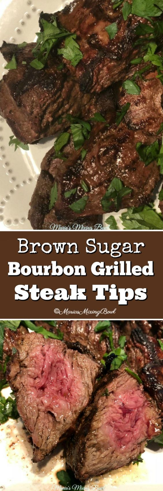 Brown Sugar Bourbon Grilled Steak Tips - flavorful and so amazing. You will love this tasty marinade. It has become one of our favorite marinades. So delicious!