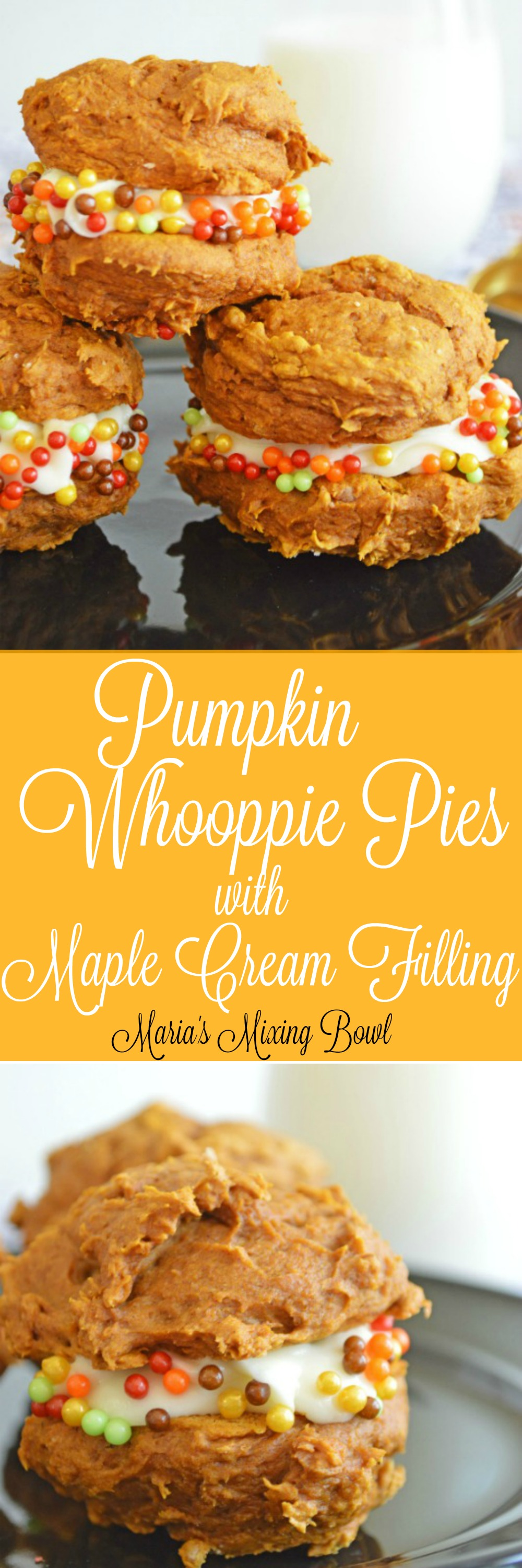 Pumpkin Whoopie Pies with Maple Cream Filling Recipe- Pumpkin Whoopie Pies with Pumpkin Cream Filling is a scrumptious Fall dessert that reminds us why pumpkin is a Fall favorite! Soft cookies make from a cake mix sandwiched together with a maple frosting.