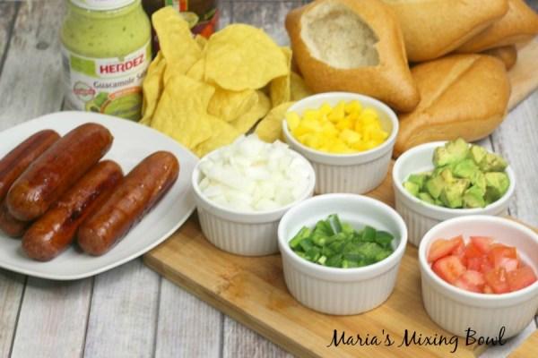 Nacho hot dogs