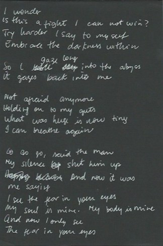 Fear in your Eyes - original lyric sheet