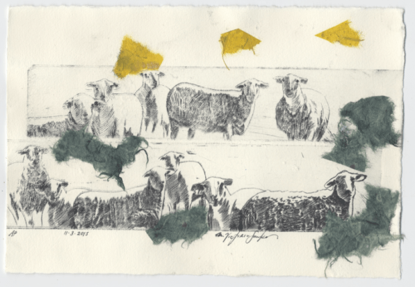 Small Pasture i, Drypoint with Chine Colle, 2015