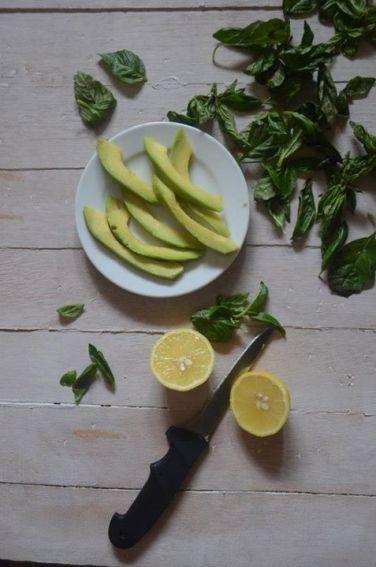 Basil, avocadoes, lemon