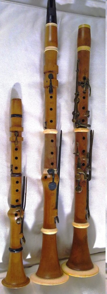 Eb Clarinet. Bb clarinet by Lefevre, Paris. Bb Clarinet by Muller Lyon.