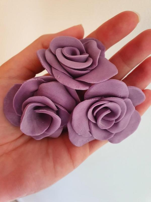 Handmade fondant purple roses Marie Makes v3
