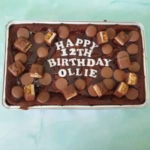 Personalised Snickers Loaded Brownie Traybake Delivered Milton Keynes