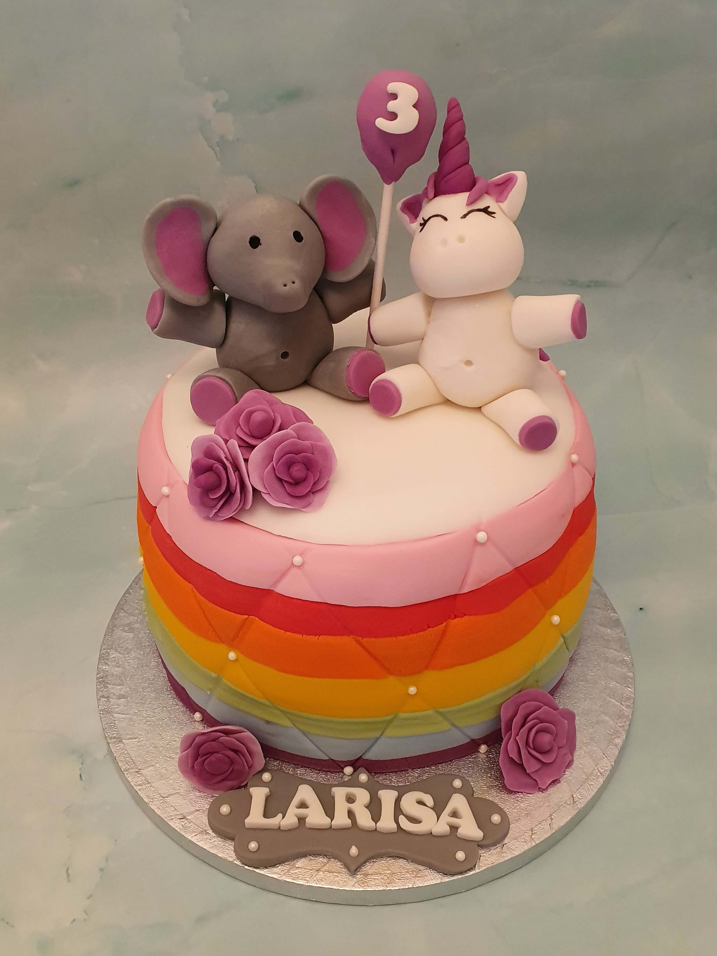 Elephant Unicorn Rainbow Children's Bespoke Birthday Cake