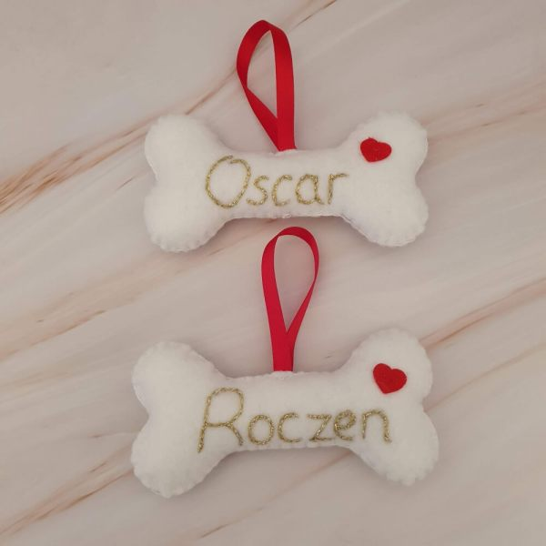 Felt dog bone Christmas tree decorations with hand embroidered names