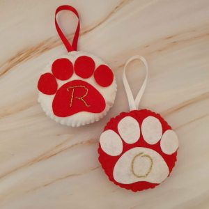 Felt dog christmas paw decorations with hand embroidered initial