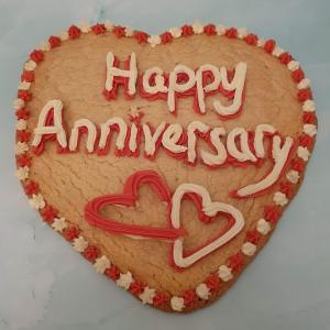 Happy Anniversary Giant Celebration Cookie with Red and White Piping