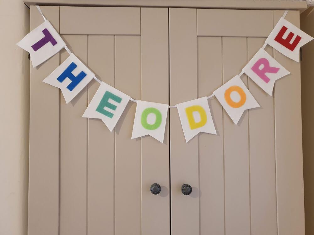 Felt personalised nursery bunting rainbow colours