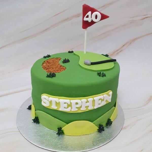 Personalised golf birthday cake delivered Milton Keynes