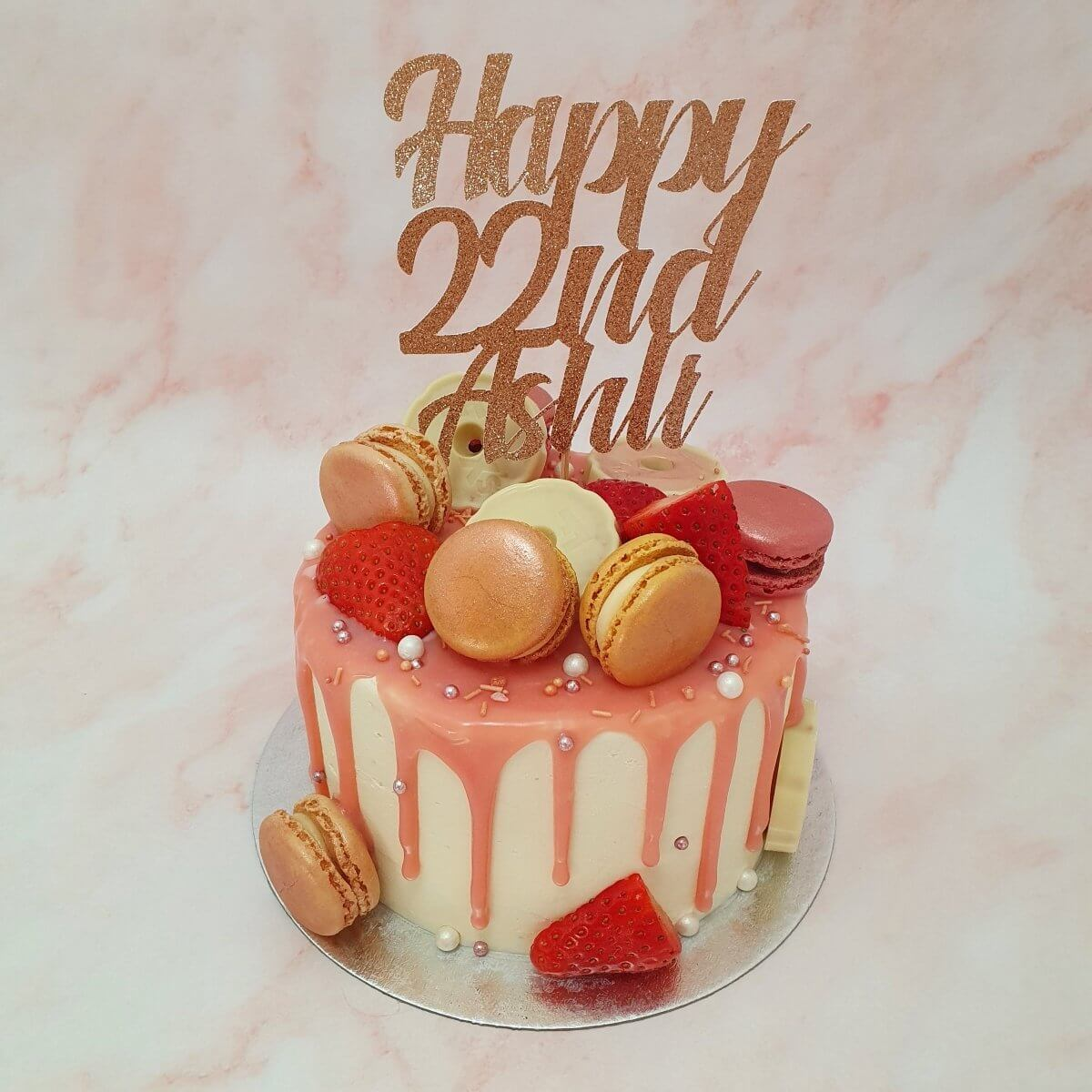 Rose Gold Drip Birthday Cake Delivered Milton Keynes