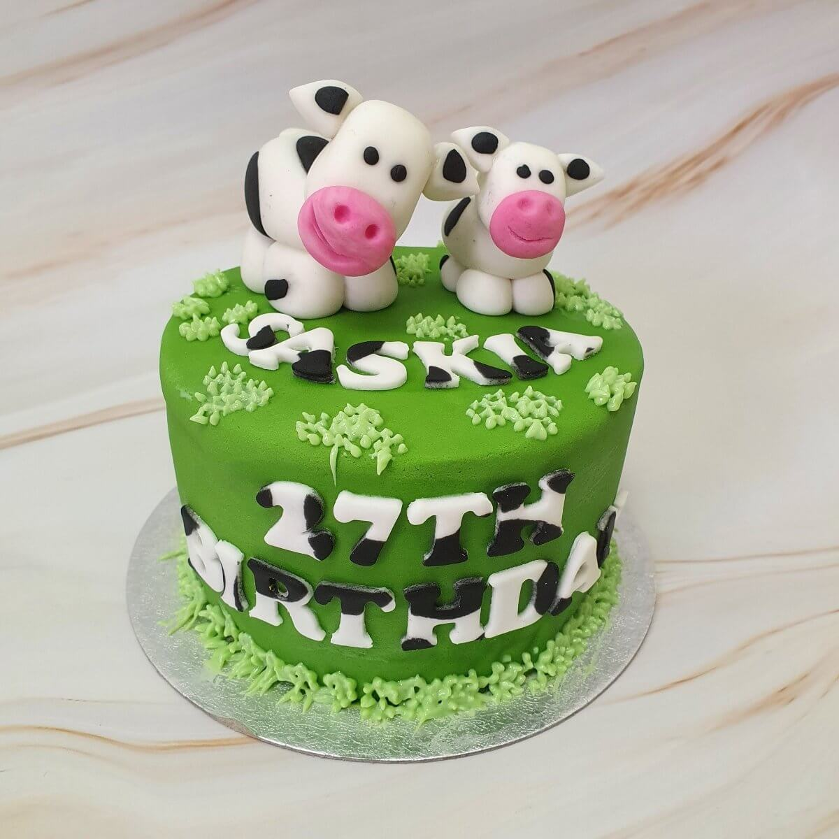 Vegan Cow Birthday Cake Delivered Milton Keynes