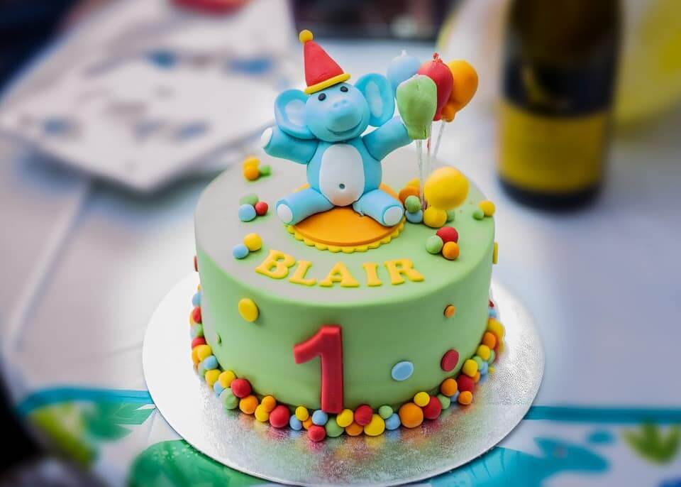 elephant first birthday cake