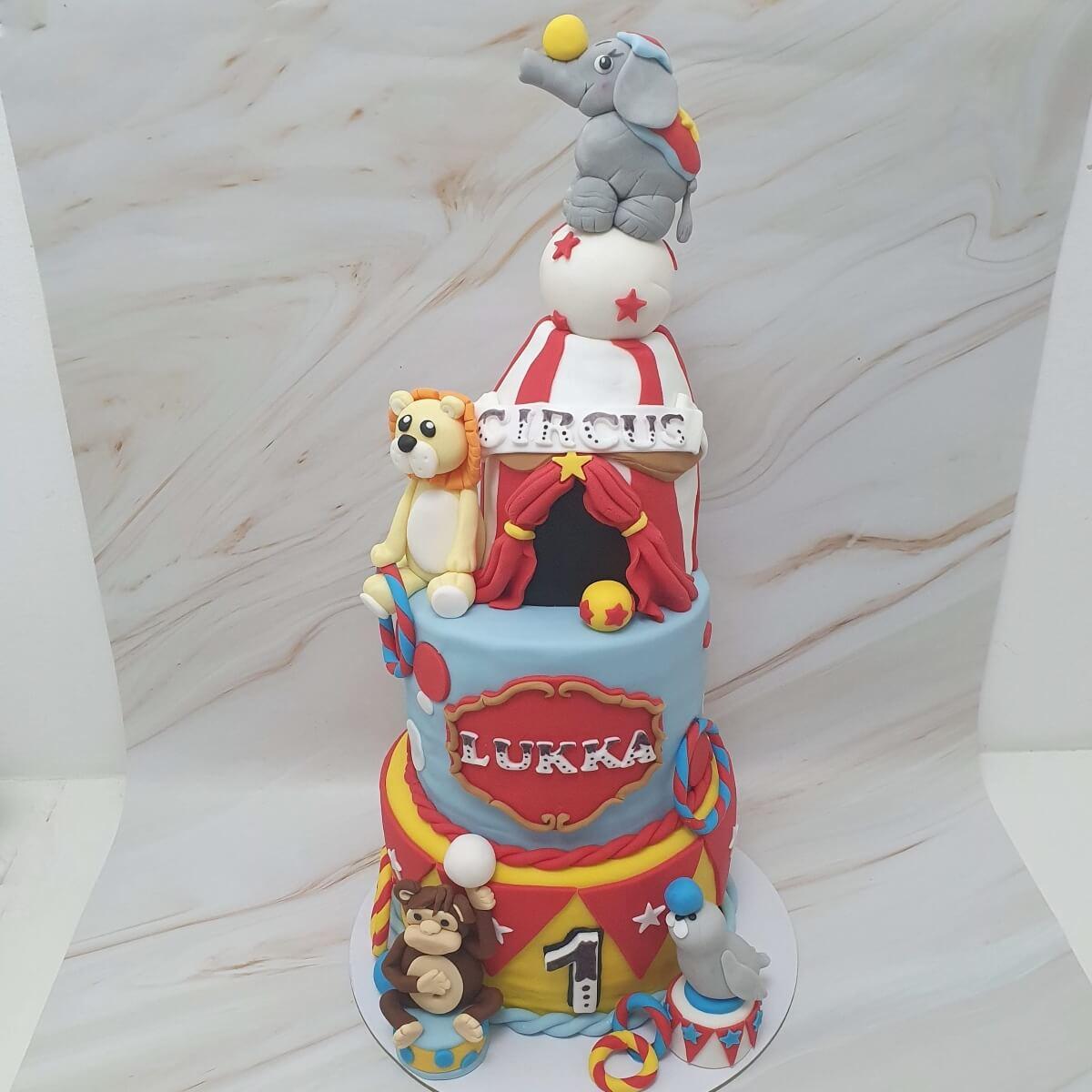 Circus 3 Tier 1st Birthday Cake Delivered Milton Keynes Cake Maker