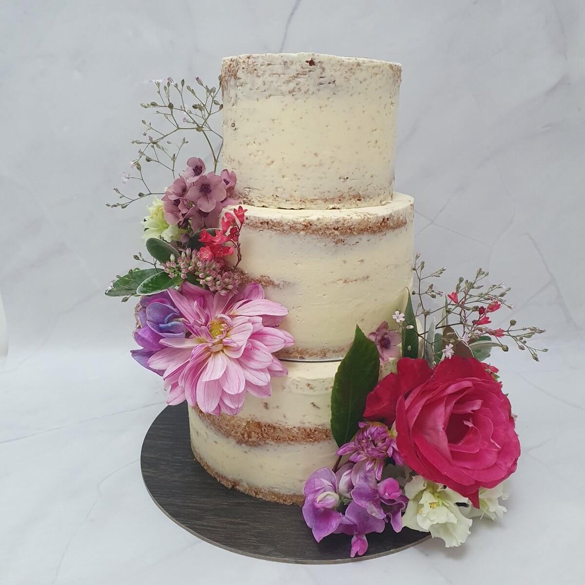 Fresh Local Seasonal Flowers Wedding Cake Milton Keynes