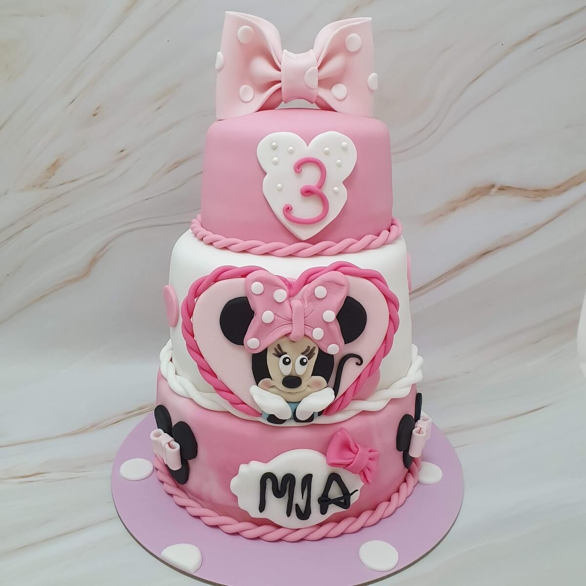 Minnie Mouse 3 Tier Birthday Cake Delivered Milton Keynes Cake Maker