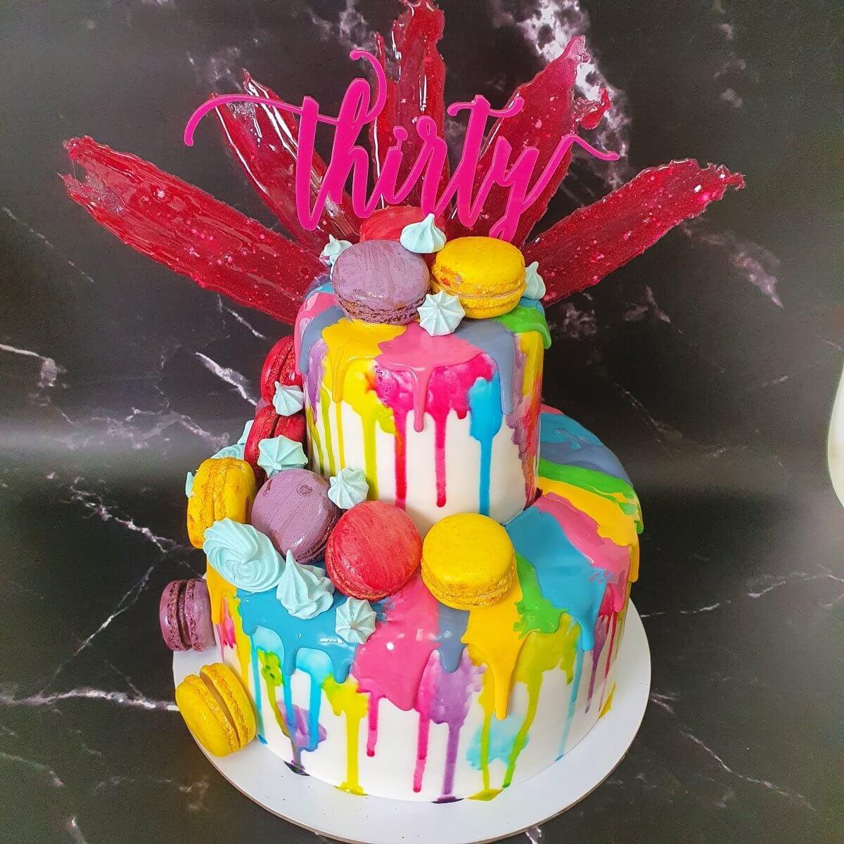Super Bright Rainbow Pink 30th Birthday Cake Delivered Milton Keynes Cake Maker