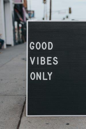 Letter board with Good Vibes Only. No unsupportive breastfeeding messages!