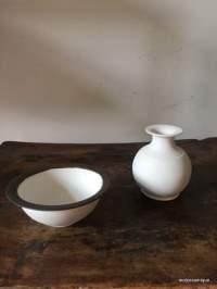 coupelle et fiole à col, porcelaine