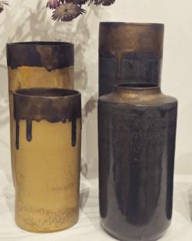 4 vases ocres et perles. mariecarolinelemansceramique