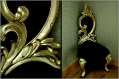 A Short backed Renaissance chair in black velvet at Marie Charnley Interiors