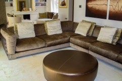 Cestone gold and brown sofa by Flexform at Marie Charnley Interiors