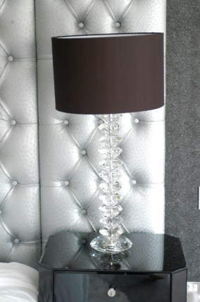 Malmaissi Crystal lamp with black silk lampshade at Marie Charnley Interiors